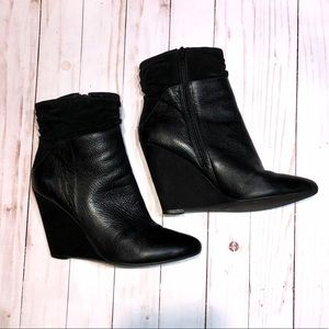 *GUESS Black Leather & Suede Wedge Bootie*